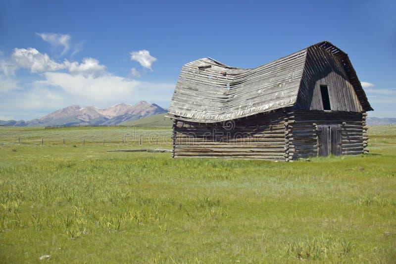 Historyczny zwrot wiek stajnia opustoszały rancho w Centennial dolinie i, MT zdjęcia royalty free