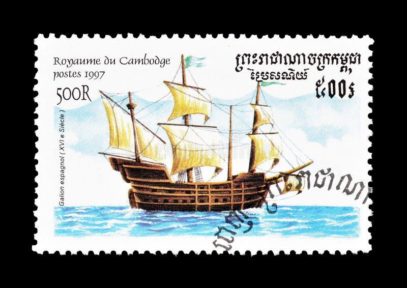 Hiszpański galeon na znaczku zdjęcia royalty free