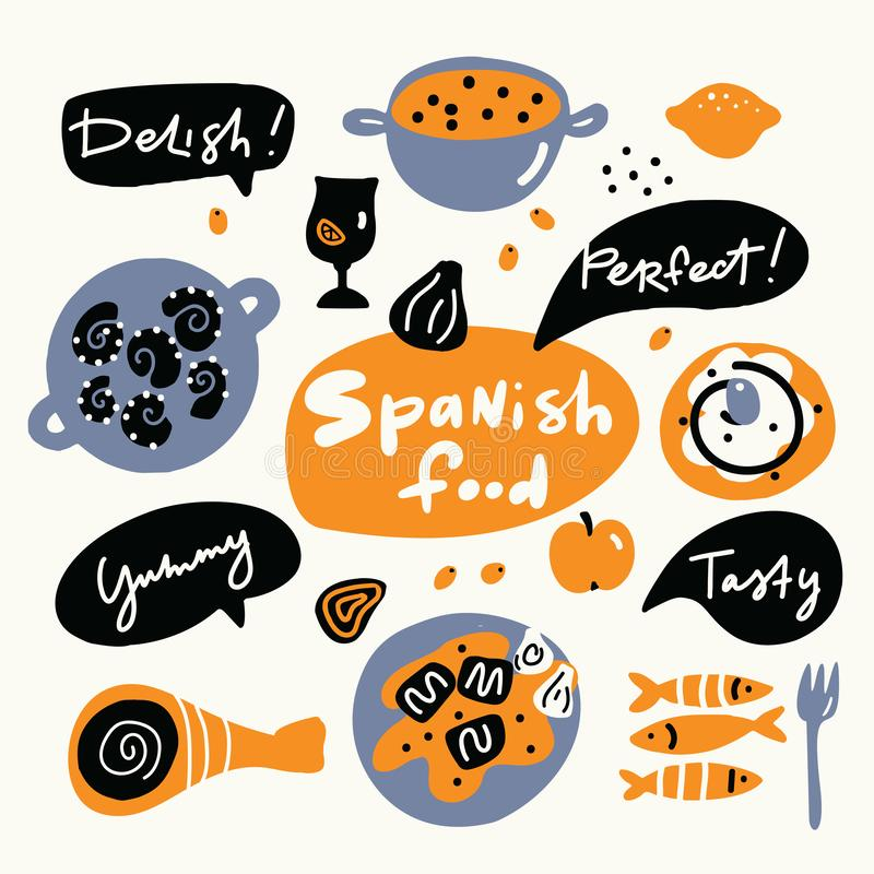 Hiszpański jedzenie Ręka rysująca ilustracja, robić w wektorze Doodle styl royalty ilustracja