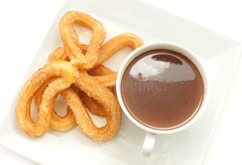 Hiszpańscy churros z gorącą czekoladą zdjęcie royalty free