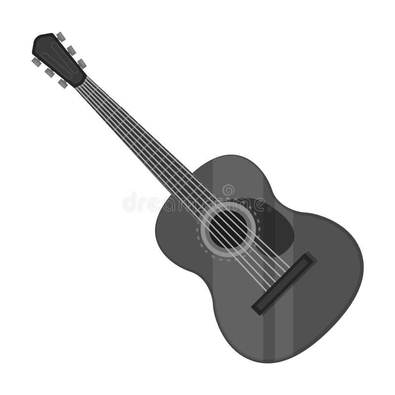 Hiszpańska gitary akustycznej ikona w monochromu stylu odizolowywającym na białym tle Hiszpania kraju symbolu zapasu wektor royalty ilustracja