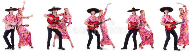 Hiszpańska para bawić się gitarę i tana zdjęcie royalty free