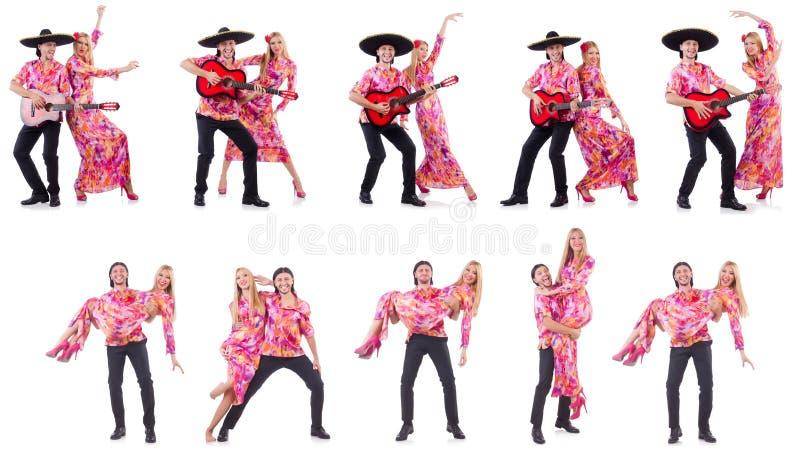 Hiszpańska para bawić się gitarę i tana obrazy stock