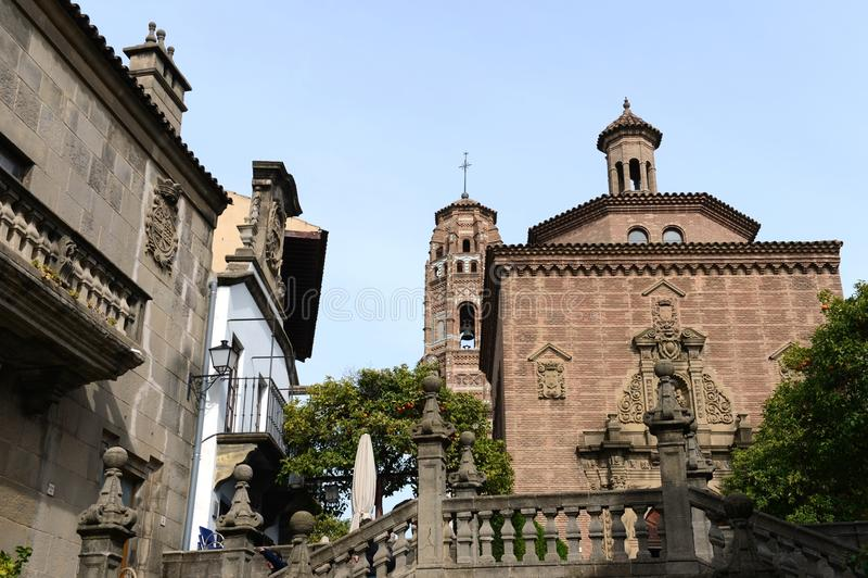 Hiszpańska wioska - architektoniczny muzeum pod otwartym niebem który pokazuje arhitektura rzemiosła Hiszpania, zdjęcie stock