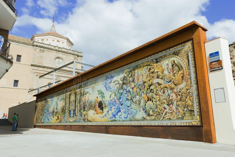 Hiszpański ceramiczny malowidło ścienne, Ruiz de Luna styl, Hiszpania zdjęcia stock