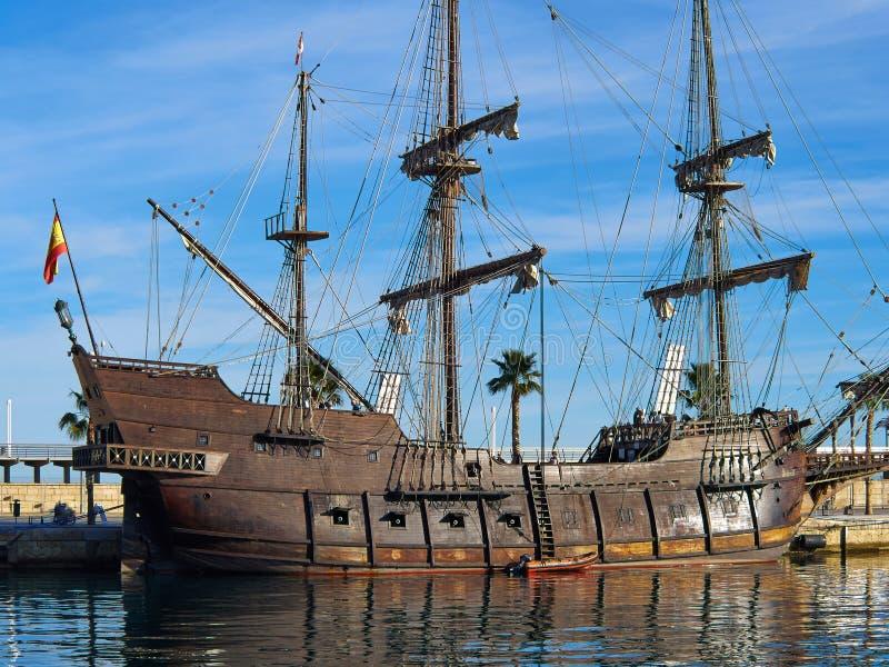 Hiszpański galeon 18th Wieka statku Alicante Costa Blanca zdrój zdjęcie royalty free
