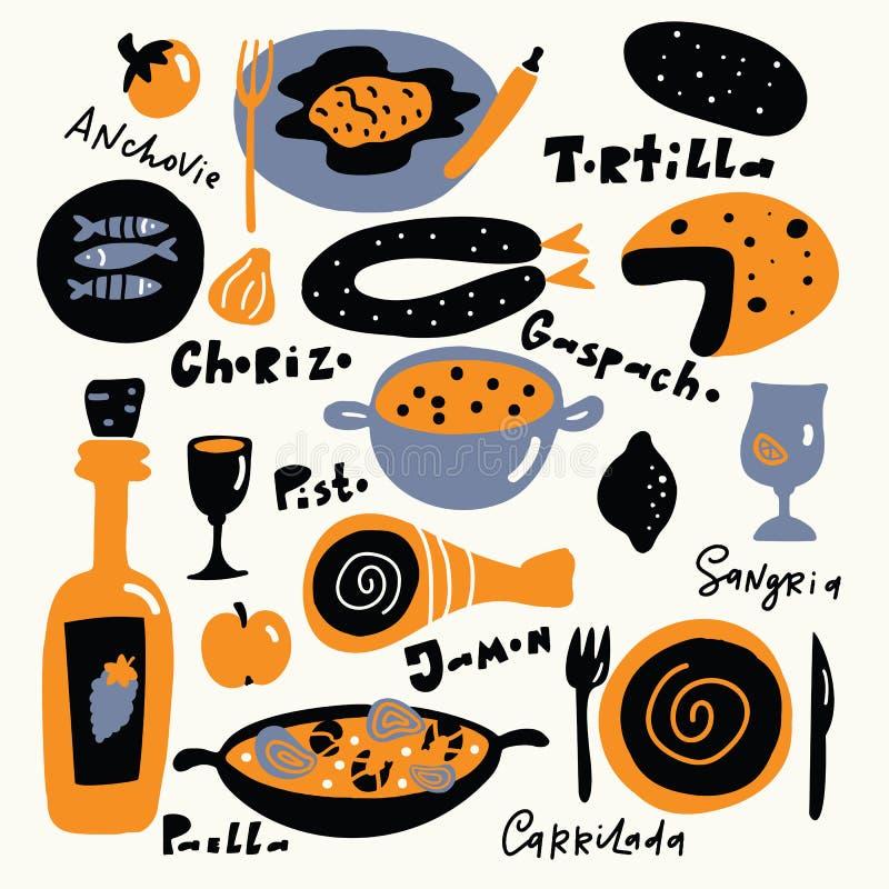 Hiszpański jedzenie Wręcza patroszoną ilustrację z imionami jedzenie, literowanie, robić w wektorze ilustracja wektor
