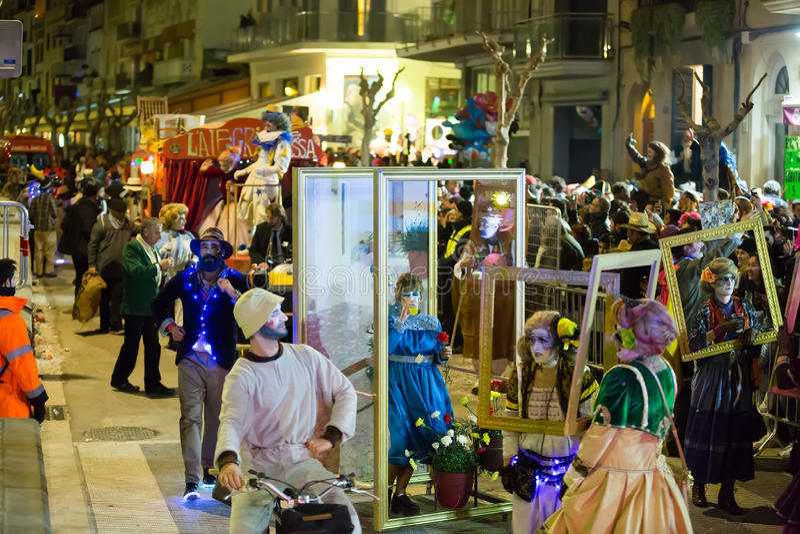 Hiszpański karnawał w nocy fotografia royalty free