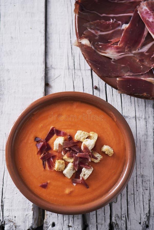 hiszpański slamorejo lub porra, zimna pomidorowa polewka obraz stock