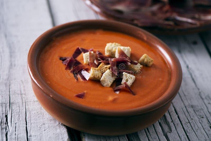hiszpański slamorejo lub porra, zimna pomidorowa polewka zdjęcie stock