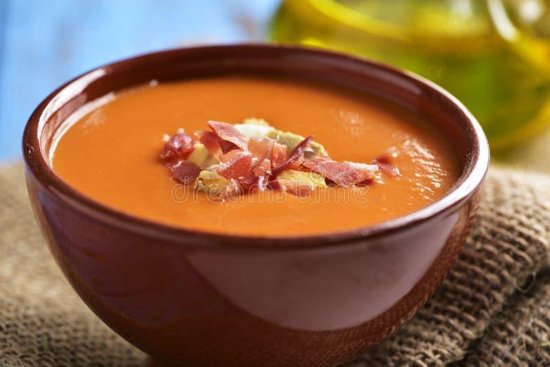 hiszpański slamorejo lub porra, zimna pomidorowa polewka zdjęcia royalty free