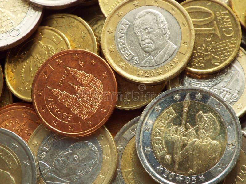 hiszpańskie monety euro obraz stock
