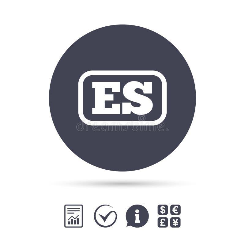 Hiszpańskiego języka znaka ikona ES przekład ilustracji