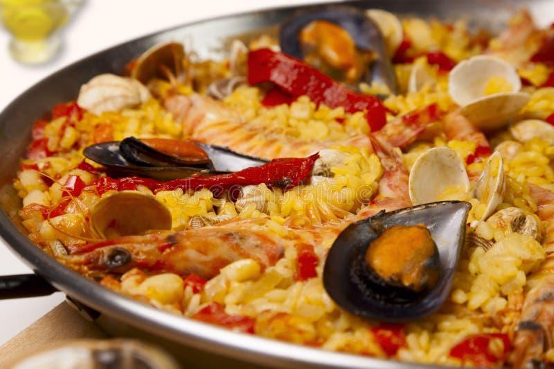 Hiszpańskiego owoce morza ryżowy paella, zamyka up obrazy royalty free