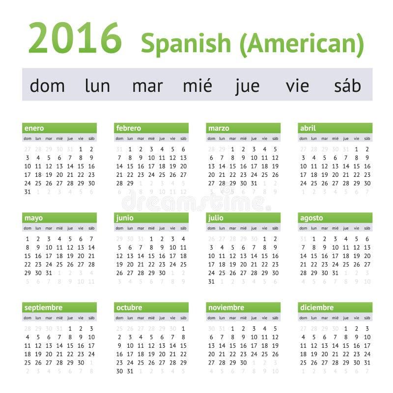 2016 hiszpańszczyzn amerykanina kalendarz Na Niedziela tydzień początek royalty ilustracja