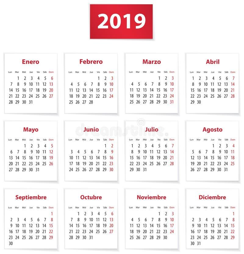 2019 hiszpańszczyzn kalendarz w czerwieni royalty ilustracja