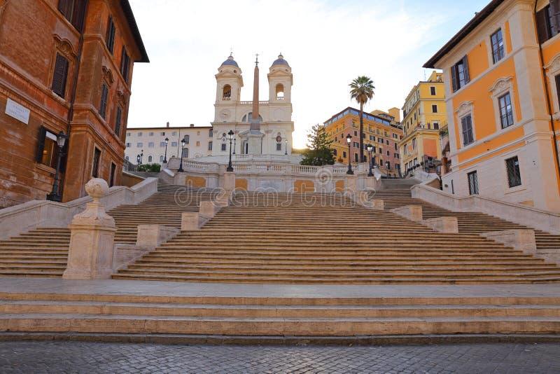 Hiszpańszczyzna kroki przy rankiem, w piazza Di Spagna Rzym, zdjęcie stock
