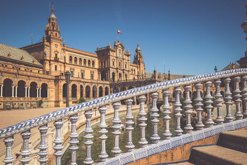 Hiszpańszczyzny Obciosują Plac De Espana w Sevilla, Hiszpania zdjęcie royalty free