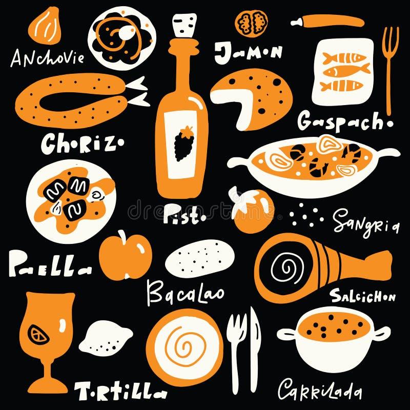 Hiszpa?ski jedzenie Wr?cza patroszon? ilustracj? z imionami jedzenie, literowanie, robi? w wektorze Czarny t?o ilustracji