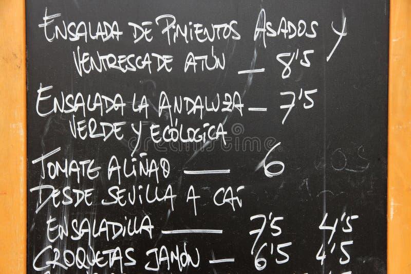Download Hiszpański menu obraz stock. Obraz złożonej z tekst, cruz - 28181109