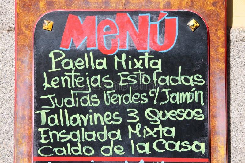 Download Hiszpański menu zdjęcie stock. Obraz złożonej z znak - 57655762