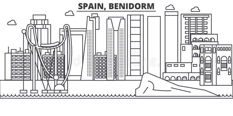 Hiszpania, Benidorm architektury linii linii horyzontu ilustracja Liniowy wektorowy pejzaż miejski z sławnymi punktami zwrotnymi, ilustracja wektor