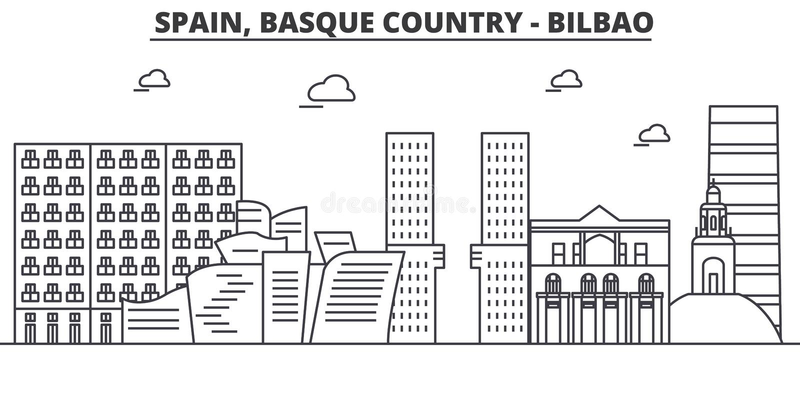 Hiszpania, Bilbao, Baskijska architektury linii linii horyzontu ilustracja kraj Liniowy wektorowy pejzaż miejski z sławnymi punkt ilustracja wektor