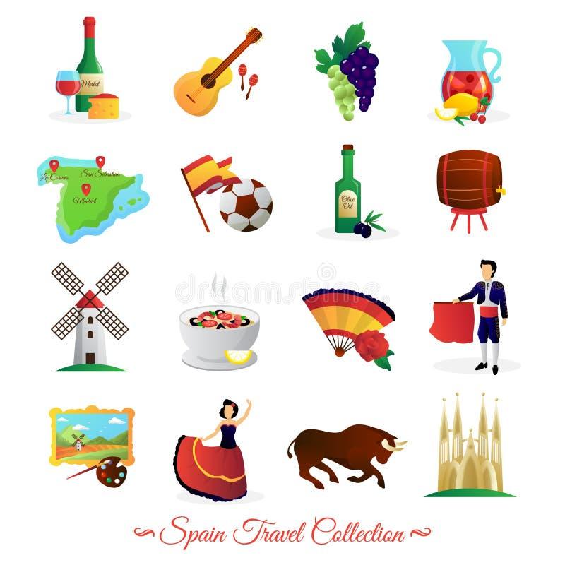 Hiszpania Dla podróżników Kulturalnych symboli/lów Ustawiających ilustracji