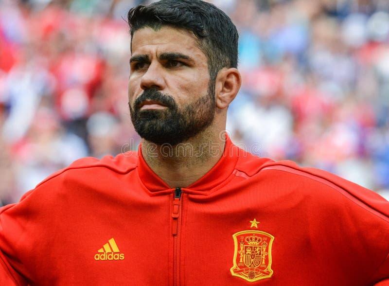 Hiszpania drużyny futbolowej krajowy strajkowicz Diego Costa obraz royalty free
