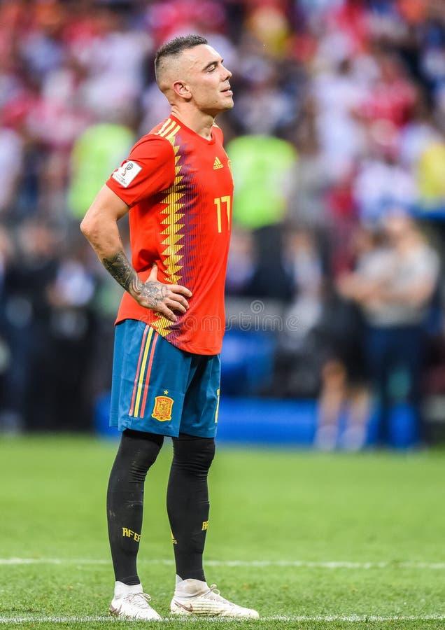 Hiszpania drużyny futbolowej krajowy strajkowicz Iago Aspas zdjęcie royalty free