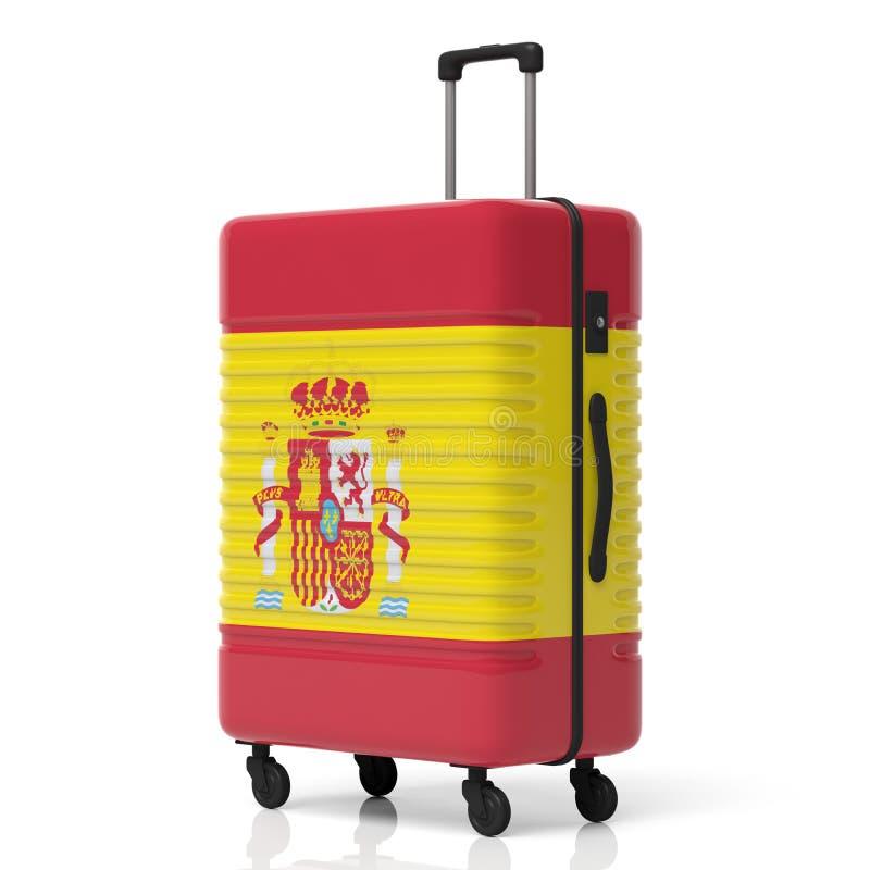 Hiszpania flaga walizka odizolowywająca na białym tle ilustracja 3 d ilustracji