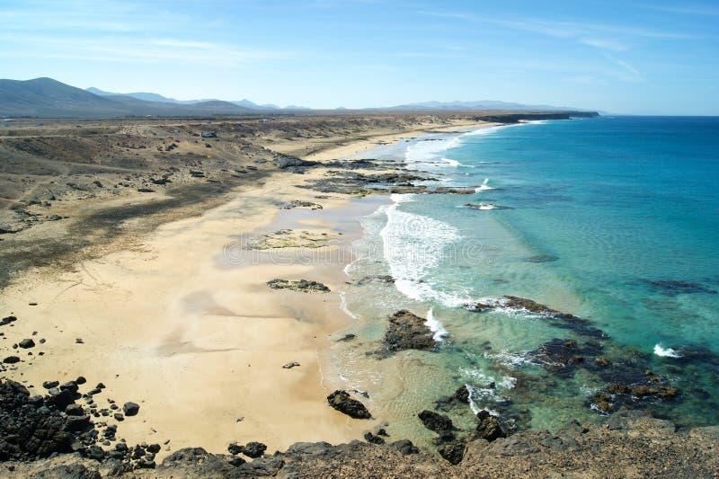 Hiszpania, Fuerteventura Piedra plaża przy El Cotillo zdjęcia royalty free