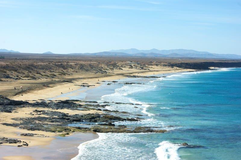 Hiszpania Hiszpańska wyspa Fuerteventura Ell Cotillo, Piedra plaża fotografia stock
