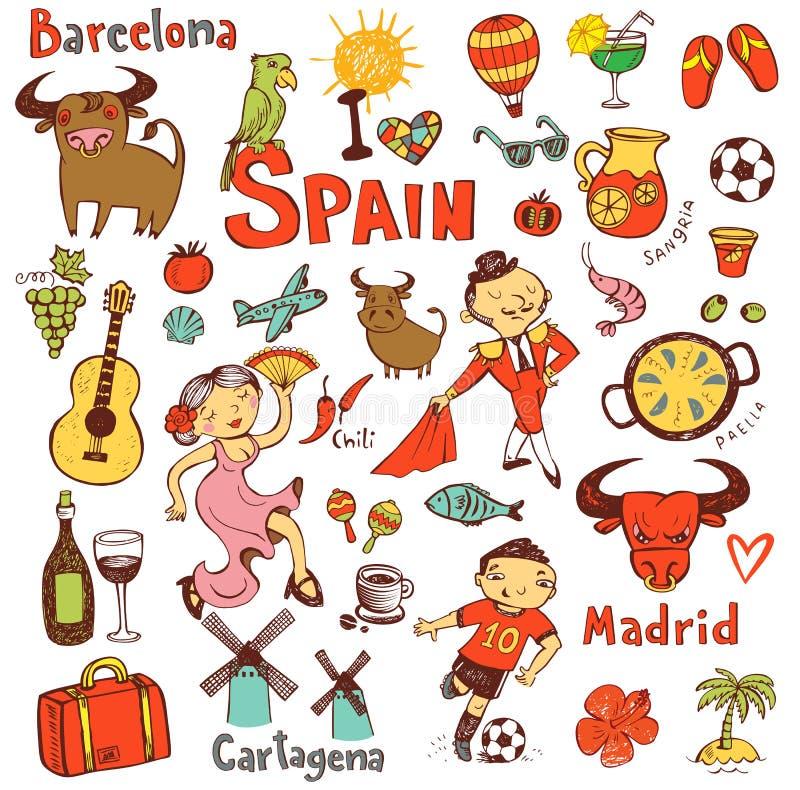 Hiszpania ikony inkasowe royalty ilustracja