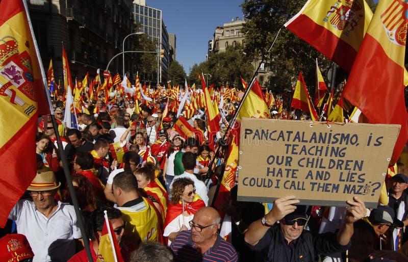 Hiszpania jedności manifestacja w Barcelona obrazy stock