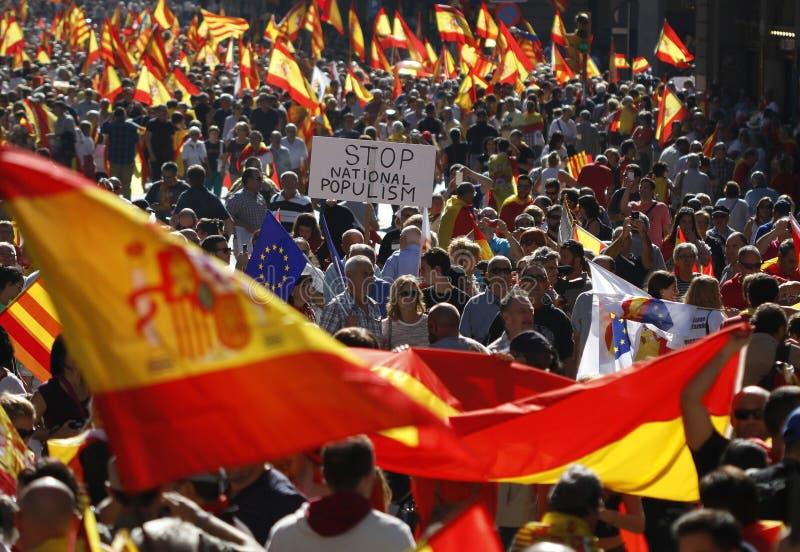 Hiszpania jedności manifestacja w Barcelona zdjęcia royalty free