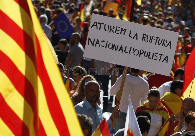 Hiszpania jedności manifestacja w Barcelona zdjęcia stock