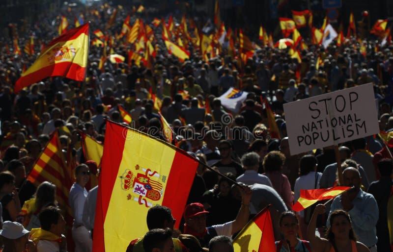 Hiszpania jedności manifestacja w Barcelona fotografia stock