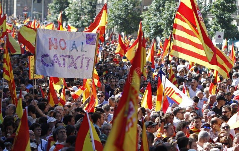 Hiszpania jedności manifestacja w Barcelona fotografia royalty free