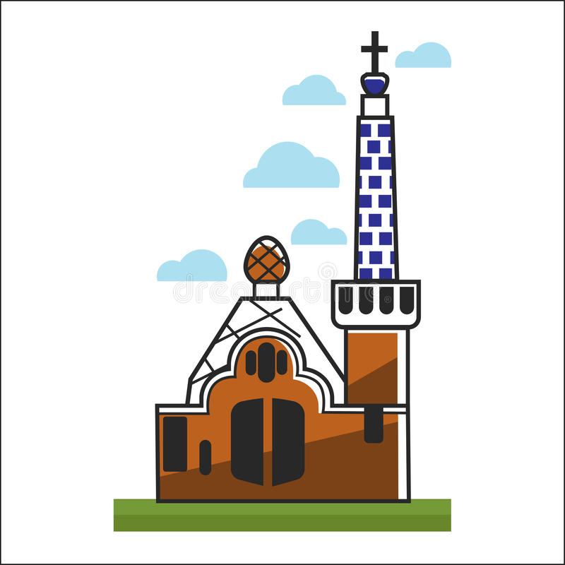 Hiszpania kościół z dużymi bramami i wysoki wierza royalty ilustracja