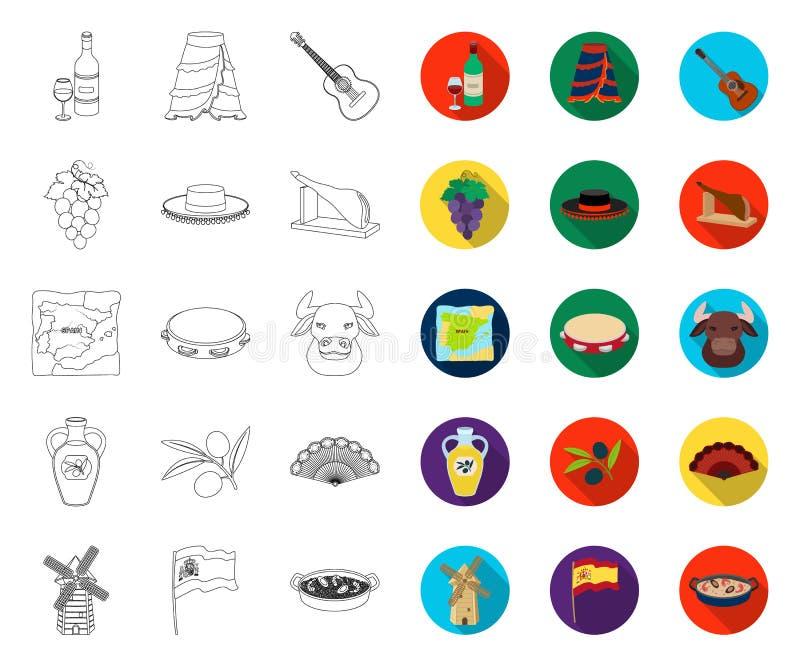 Hiszpania kraju kontur, p?askie ikony w ustalonej kolekcji dla projekta Podr??y i przyci?ga? symbolu zapasu wektorowa sie? ilustracji
