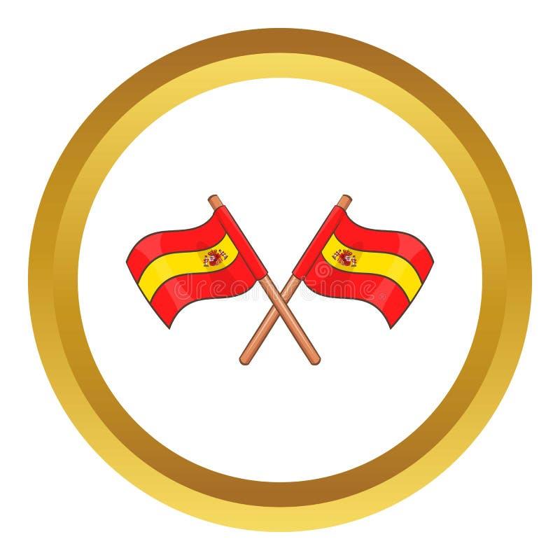 Hiszpania krzyżował chorągwianą ikonę royalty ilustracja