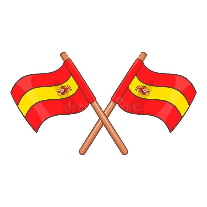 Hiszpania krzyżował chorągwianą ikonę, kreskówka styl ilustracja wektor
