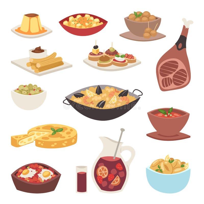 Hiszpania kuchni cookery naczynia przepisu przekąski tradycyjnych karmowych hiszpańskich tapas gastronomy wektoru skorupiasta chl ilustracja wektor