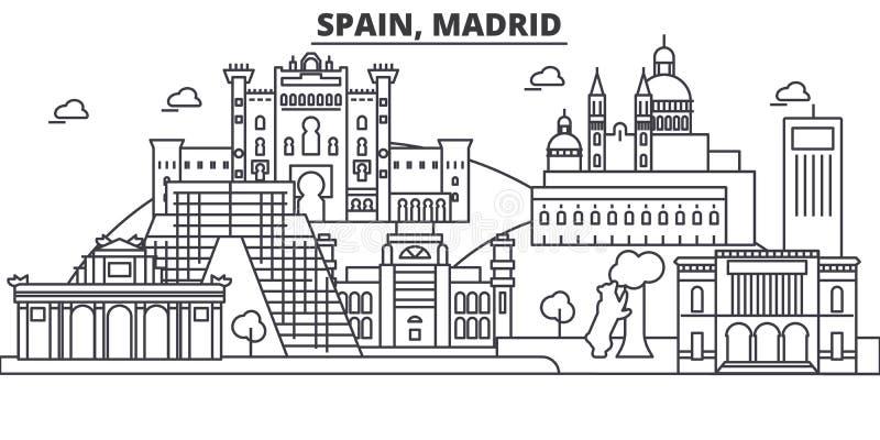Hiszpania, Madryt architektury linii linii horyzontu ilustracja Liniowy wektorowy pejzaż miejski z sławnymi punktami zwrotnymi, m royalty ilustracja