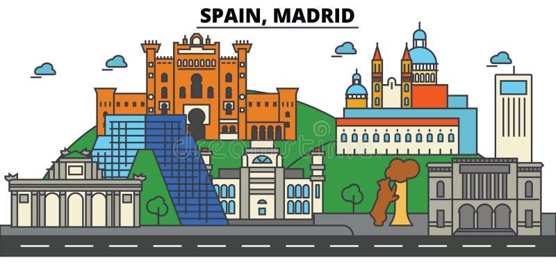 Hiszpania, Madryt Miasto linii horyzontu architektura _ ilustracji
