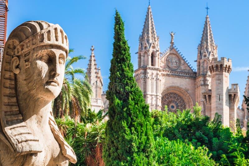 Hiszpania Majorca, widok sławny katedralny los angeles Seu przy historycznym centrum miasta zdjęcie stock