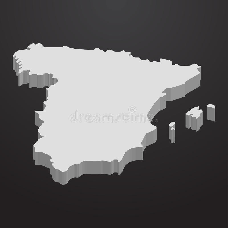 Hiszpania mapa w szarość na czarnym tle 3d royalty ilustracja