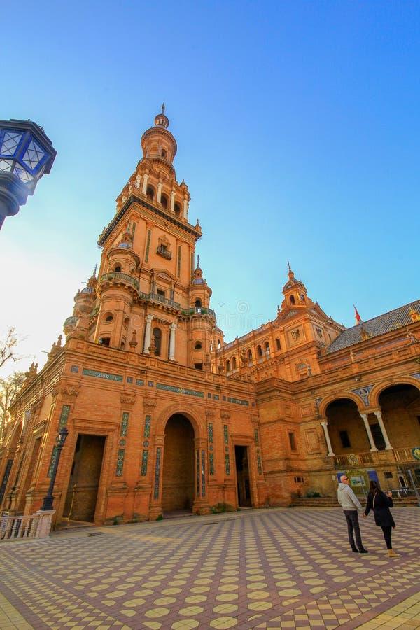 Hiszpania obciosuje Plac De Espana, Seville, Hiszpania zdjęcia stock