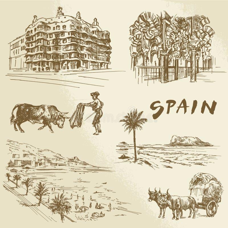 Hiszpania - ręka rysująca kolekcja ilustracji